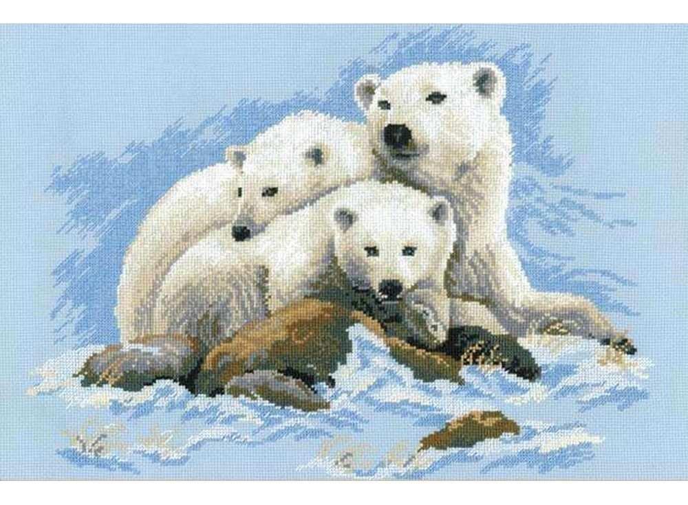 Набор для вышивания «Белые медведи»Вышивка крестом Риолис<br><br><br>Артикул: 1033<br>Основа: канва 10 Aida Zweigart<br>Размер: 60х40 см<br>Техника вышивки: счетный крест<br>Серия: Риолис (Сотвори Сама)<br>Тип схемы вышивки: Цветная схема<br>Цвет канвы: Голубой<br>Количество цветов: 13<br>Художник, дизайнер: Светлана Сидорова, Юлия Красавина<br>Заполнение: Полное<br>Рисунок на канве: не нанесён<br>Техника: Вышивка крестом