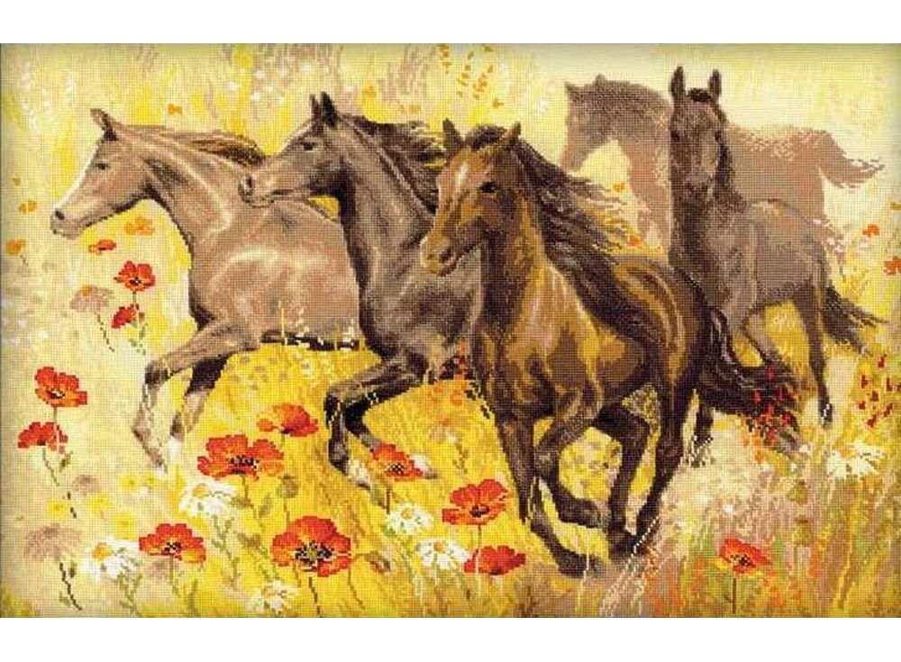 Набор для вышивания «Табун лошадей»Вышивка крестом Риолис<br><br><br>Артикул: 1064<br>Основа: канва 14 Aida Zweigart<br>Размер: 60х40 см<br>Техника вышивки: счетный крест<br>Серия: Риолис (Сотвори Сама)<br>Тип схемы вышивки: Цветная схема<br>Цвет канвы: Белый<br>Количество цветов: Нитки шерсть: 20 цветов, мулине: 3 цвета<br>Художник, дизайнер: Галина Скабеева<br>Заполнение: Полное<br>Рисунок на канве: не нанесён<br>Техника: Вышивка крестом