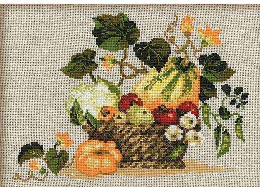 Набор для вышивания «Плоды осени»Вышивка крестом Риолис<br><br><br>Артикул: 1076<br>Основа: канва 10 Aida Zweigart<br>Размер: 40х30 см<br>Техника вышивки: счетный крест<br>Серия: Риолис (Сотвори Сама)<br>Тип схемы вышивки: Цветная схема<br>Цвет канвы: Льняной<br>Количество цветов: 16<br>Художник, дизайнер: Анастасия Яновская<br>Заполнение: Полное<br>Рисунок на канве: не нанесён<br>Техника: Вышивка крестом
