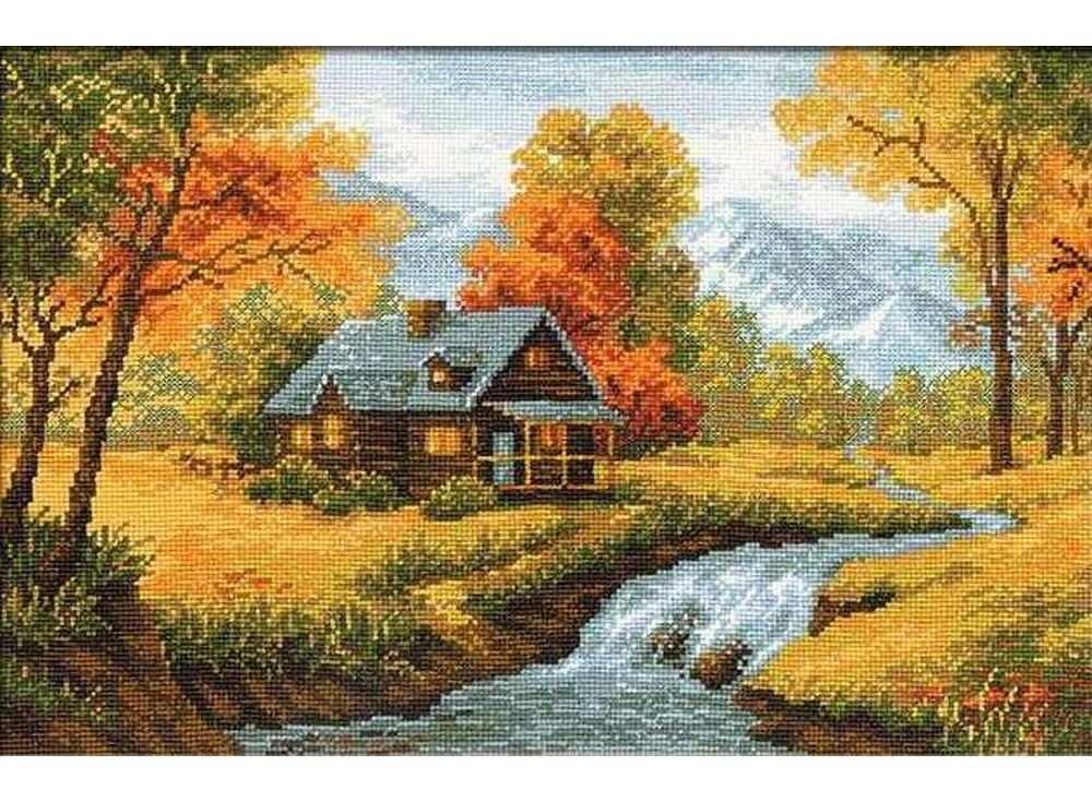 Набор для вышивания «Осенний пейзаж»Вышивка крестом Риолис<br><br><br>Артикул: 1079<br>Основа: канва 14 Aida Zweigart<br>Размер: 38х26 см<br>Техника вышивки: счетный крест<br>Серия: Риолис (Сотвори Сама)<br>Тип схемы вышивки: Цветная схема<br>Цвет канвы: Белый<br>Количество цветов: 20<br>Художник, дизайнер: Светлана Сидорова<br>Заполнение: Полное<br>Рисунок на канве: не нанесён<br>Техника: Вышивка крестом