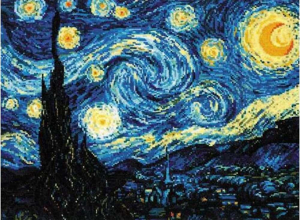Набор для вышивания «Звёздная ночь. Ван Гог»Вышивка крестом Риолис<br><br><br>Артикул: 1088<br>Основа: канва 14 Aida Zweigart<br>Размер: 40х30 см<br>Техника вышивки: счетный крест<br>Серия: Риолис (Сотвори Сама)<br>Тип схемы вышивки: Цветная схема<br>Цвет канвы: Белый<br>Количество цветов: 26<br>Художник, дизайнер: Илья Киселёв<br>Заполнение: Полное<br>Рисунок на канве: не нанесён<br>Техника: Вышивка крестом