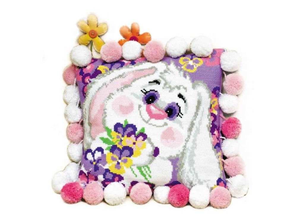 Набор для вышивания «Подушка. Кролик»Вышивка подушек Риолис<br><br><br>Артикул: 1099<br>Основа: канва 10 Aida Zweigart<br>Размер: 30х30 см<br>Техника вышивки: счетный крест<br>Серия: Риолис (Сотвори Сама)<br>Тип схемы вышивки: Цветная схема<br>Цвет канвы: Белый<br>Количество цветов: 12<br>Художник, дизайнер: Анна Король<br>Заполнение: Полное<br>Рисунок на канве: не нанесён<br>Техника: Вышивка подушек