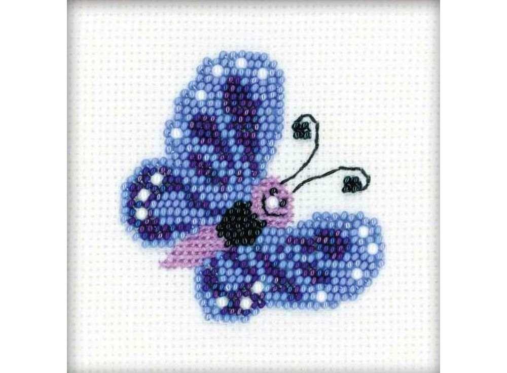 Набор для вышивания вышивки бисером «Бабочка»Вышивка смешанной техникой Риолис<br><br><br>Артикул: 1110<br>Основа: канва 14 Aida Zweigart<br>Размер: 10х10 см<br>Техника вышивки: счетный крест+бисер<br>Тип схемы вышивки: Цветная схема<br>Цвет канвы: Белый<br>Количество цветов: Мулине: 3 цвета, бисер: 3 цвета, бусины: 1 цвет<br>Художник, дизайнер: Юлия Лындина<br>Заполнение: Полное<br>Рисунок на канве: не нанесён<br>Техника: Смешанная техника