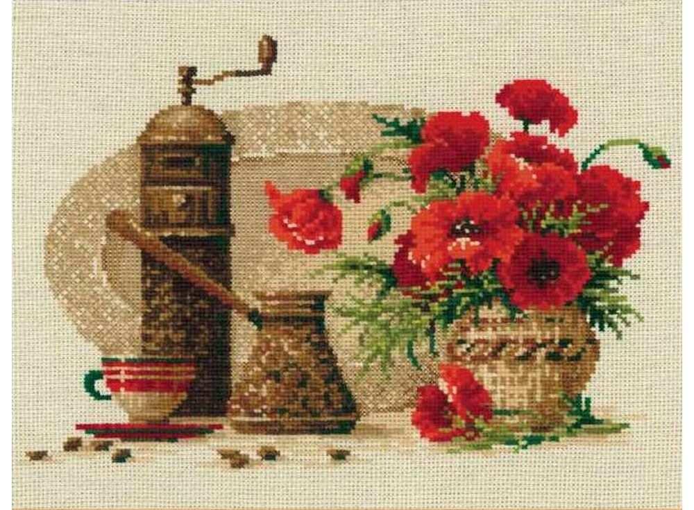 Набор для вышивания «Кофе»Вышивка крестом Риолис<br><br><br>Артикул: 1121<br>Основа: канва 14 Rustico Aida Zweigart<br>Размер: 30х24 см<br>Техника вышивки: счетный крест<br>Серия: Риолис (Сотвори Сама)<br>Тип схемы вышивки: Цветная схема<br>Цвет канвы: Льняной<br>Количество цветов: 18<br>Художник, дизайнер: Анна Петросян<br>Заполнение: Полное<br>Рисунок на канве: не нанесён<br>Техника: Вышивка крестом