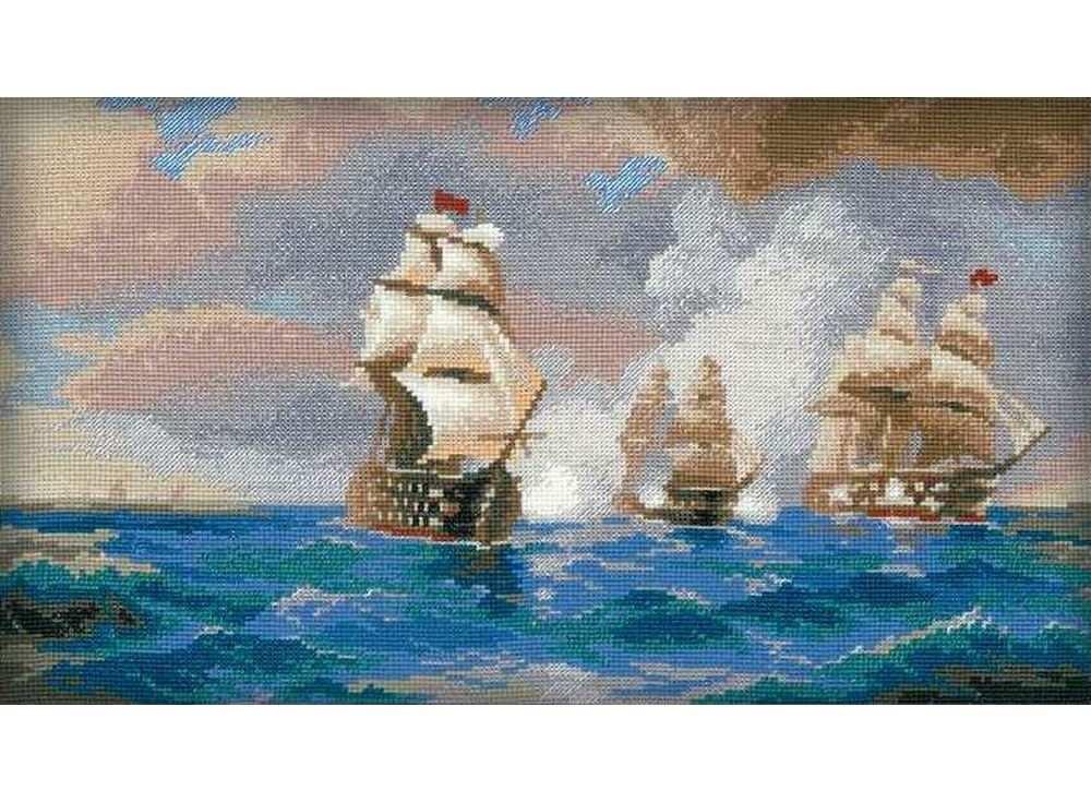 Набор для вышивания «Бриг Меркурий, атакованный двумя турецкими кораблями»Вышивка крестом Риолис<br><br><br>Артикул: 1154<br>Основа: канва 14 Aida Zweigart<br>Размер: 40х24 см<br>Техника вышивки: счетный крест<br>Серия: Риолис (Сотвори Сама)<br>Тип схемы вышивки: Цветная схема<br>Цвет канвы: Белый<br>Количество цветов: 22<br>Художник, дизайнер: Максим Никифоров<br>Заполнение: Полное<br>Рисунок на канве: не нанесён<br>Техника: Вышивка крестом