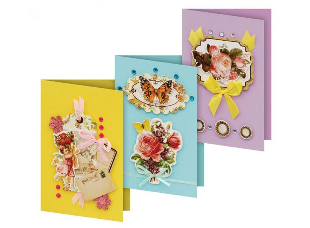 Набор из 3-х открыток «Флирт»Наборы для создания открыток<br>Набор для создания 3-х открыток Флирт<br> (размер открыток 115 мм * 170 мм)<br> <br> - 3 заготовки для открыток;<br> - 3 конверта;<br> - клеевые подушечки;<br> - декоративные элементы: вырубка из картона, ленты, пайетки, стразы, полубусины.<br><br>Артикул: 116-SB<br>Размер: 3 шт. 11,5x17 см