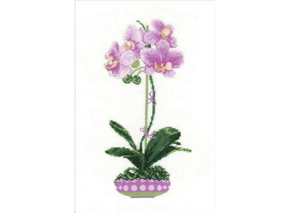 Набор для вышивания «Сиреневая орхидея»Вышивка крестом Риолис<br><br><br>Артикул: 1163<br>Основа: канва 14 Aida Zweigart<br>Размер: 21х30 см<br>Техника вышивки: счетный крест<br>Серия: Риолис (Сотвори Сама)<br>Тип схемы вышивки: Цветная схема<br>Цвет канвы: Белый<br>Количество цветов: 13<br>Художник, дизайнер: Илья Киселёв<br>Заполнение: Полное<br>Рисунок на канве: не нанесён<br>Техника: Вышивка крестом