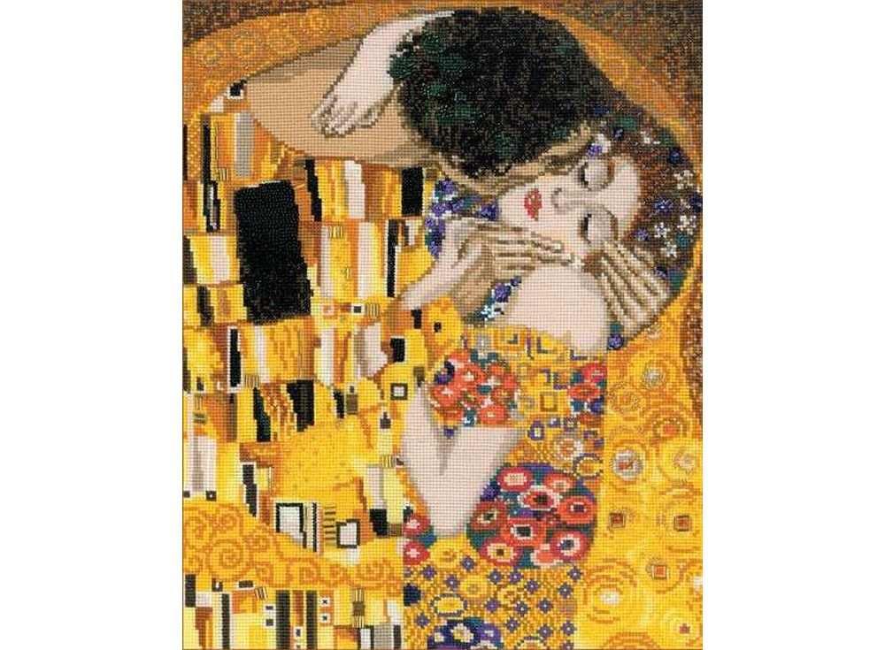 Набор для вышивания «Поцелуй» по мотивам картины Г.КлимтаВышивка крестом Риолис<br><br><br>Артикул: 1170<br>Основа: канва 14 Aida Zweigart<br>Размер: 30x35 см<br>Техника вышивки: счетный крест<br>Серия: Риолис (Сотвори Сама)<br>Тип схемы вышивки: Цветная схема<br>Цвет канвы: Белый<br>Количество цветов: 25<br>Художник, дизайнер: Елена Колмакова<br>Заполнение: Полное<br>Рисунок на канве: не нанесён<br>Техника: Вышивка крестом