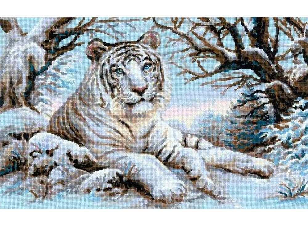 Набор для вышивания «Бенгальский тигр»Вышивка крестом Риолис<br><br><br>Артикул: 1184<br>Основа: канва 10 Aida Zweigart<br>Размер: 60x40 см<br>Техника вышивки: счетный крест<br>Серия: Риолис (Сотвори Сама)<br>Тип схемы вышивки: Цветная схема<br>Цвет канвы: Голубой<br>Количество цветов: 17<br>Художник, дизайнер: Алина Мелентьева<br>Заполнение: Полное<br>Рисунок на канве: не нанесён<br>Техника: Вышивка крестом