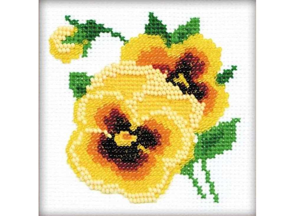 Набор для вышивания вышивки бисером «Анютки»Вышивка смешанной техникой Риолис<br><br><br>Артикул: 1221<br>Основа: канва 14 Aida Zweigart<br>Размер: 10х10 см<br>Техника вышивки: счетный крест+бисер<br>Тип схемы вышивки: Цветная схема<br>Цвет канвы: Белый<br>Количество цветов: Мулине: 3 цвета, бисер: 5 цветов<br>Художник, дизайнер: Анна Король<br>Заполнение: Полное<br>Техника: Смешанная техника