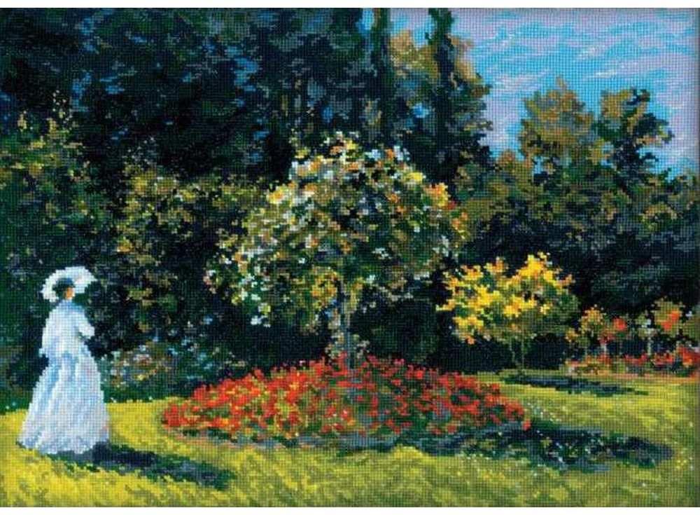 Набор для вышивания «Дама в саду» по мотивам картины К.МонеВышивка крестом Риолис<br><br><br>Артикул: 1225<br>Основа: канва 14 Aida Zweigart<br>Размер: 40х30 см<br>Техника вышивки: счетный крест<br>Серия: Риолис (Сотвори Сама)<br>Тип схемы вышивки: Цветная схема<br>Цвет канвы: Белый<br>Количество цветов: 30<br>Художник, дизайнер: Александра Гусарова<br>Заполнение: Полное<br>Рисунок на канве: не нанесён<br>Техника: Вышивка крестом