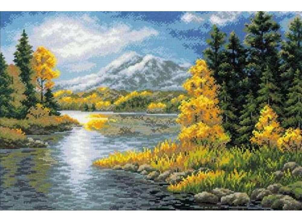 Набор для вышивания «Озеро в горах»Вышивка крестом Риолис<br><br><br>Артикул: 1235<br>Основа: канва 10 Aida Zweigart<br>Размер: 60x40 см<br>Техника вышивки: счетный крест<br>Серия: Риолис (Сотвори Сама)<br>Тип схемы вышивки: Цветная схема<br>Цвет канвы: Белый<br>Количество цветов: 29<br>Художник, дизайнер: Светлана Сидорова<br>Заполнение: Полное<br>Рисунок на канве: не нанесён<br>Техника: Вышивка крестом