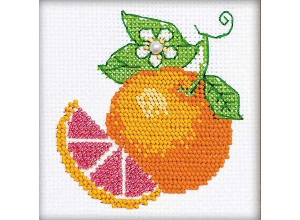Набор для вышивания вышивки бисером «Апельсин»Вышивка смешанной техникой Риолис<br><br><br>Артикул: 1263<br>Основа: канва 14 Aida Zweigart<br>Размер: 10x10 см<br>Техника вышивки: счетный крест+бисер<br>Тип схемы вышивки: Цветная схема<br>Цвет канвы: Белый<br>Количество цветов: Мулине: 4 цвета, бисер: 4 цвета<br>Художник, дизайнер: Анастасия Яновская<br>Заполнение: Полное<br>Рисунок на канве: не нанесён<br>Техника: Смешанная техника