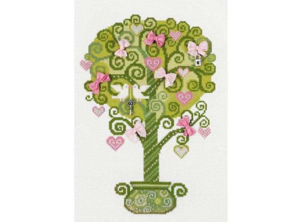 Набор для вышивания «Дерево счастья»Вышивка смешанной техникой Риолис<br><br><br>Артикул: 1295<br>Основа: канва 14 Aida Zweigart<br>Размер: 21х30 см<br>Техника вышивки: счетный крест+бисер+ленты<br>Тип схемы вышивки: Цветная схема<br>Цвет канвы: Белый<br>Количество цветов: Мулине: 6 цветов, бисер: 1 цвет, ленты: 2 цвета<br>Художник, дизайнер: Юлия Красавина<br>Заполнение: Полное<br>Рисунок на канве: не нанесён<br>Техника: Смешанная техника