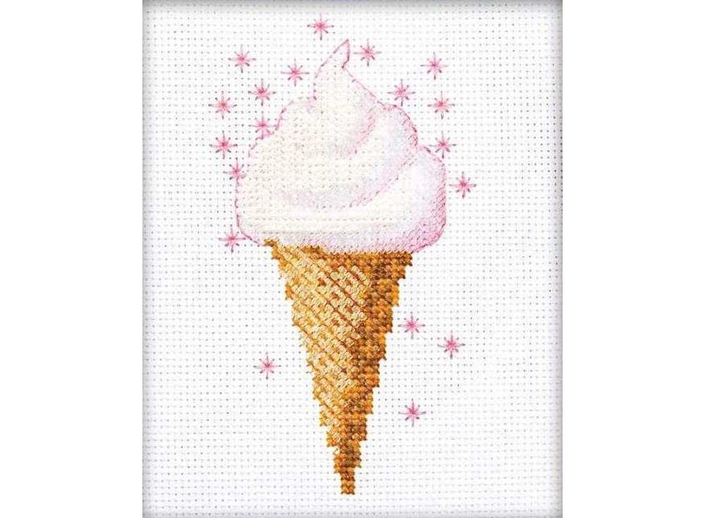 Набор для вышивания вышивки бисером «Мороженое»Вышивка смешанной техникой Риолис<br><br><br>Артикул: 1317<br>Основа: канва 14 Aida Zweigart<br>Размер: 13х16 см<br>Техника вышивки: счетный крест+бисер<br>Тип схемы вышивки: Цветная схема<br>Цвет канвы: Белый<br>Количество цветов: Мулине: 4 цвета, бисер: 2 цвета<br>Художник, дизайнер: Галина Скабеева<br>Заполнение: Полное<br>Рисунок на канве: не нанесён<br>Техника: Смешанная техника