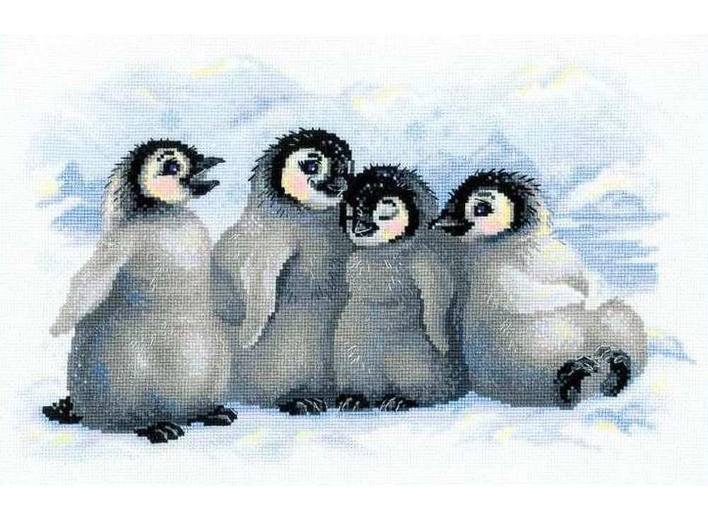 Набор для вышивания «Забавные пингвины»Вышивка крестом Риолис<br><br><br>Артикул: 1323<br>Основа: канва 14 Aida Zweigart<br>Размер: 40х25 см<br>Техника вышивки: счетный крест<br>Серия: Риолис (Сотвори Сама)<br>Тип схемы вышивки: Цветная схема<br>Цвет канвы: Белый<br>Количество цветов: 20<br>Художник, дизайнер: Александра Гусарова<br>Заполнение: Полное<br>Рисунок на канве: не нанесён<br>Техника: Вышивка крестом