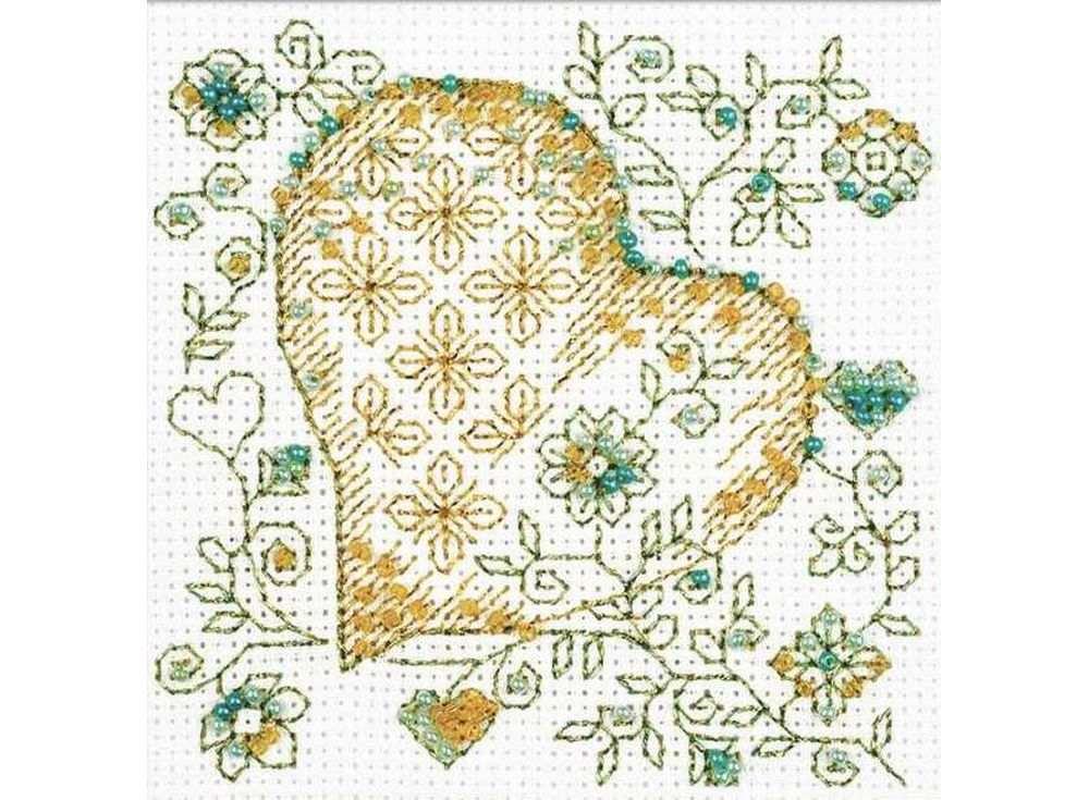 Набор для вышивания вышивки бисером «Золотое сердце»Вышивка смешанной техникой Риолис<br><br><br>Артикул: 1353<br>Основа: канва 14 Aida Zweigart<br>Размер: 10х10 см<br>Техника вышивки: счетный крест+бисер<br>Тип схемы вышивки: Цветная схема<br>Цвет канвы: Белый<br>Количество цветов: Мулине: 3 цвета. бисер: 3 цвета<br>Художник, дизайнер: Юлия Красавина<br>Заполнение: Полное<br>Рисунок на канве: не нанесён<br>Техника: Смешанная техника