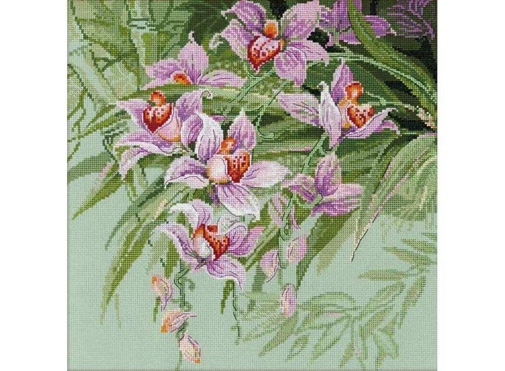 Набор для вышивания «Тропические орхидеи»Вышивка крестом Риолис<br><br><br>Артикул: 1401<br>Основа: канва 14 Aida Zweigart<br>Размер: 34х34 см<br>Техника вышивки: счетный крест<br>Серия: Риолис (Сотвори Сама)<br>Тип схемы вышивки: Цветная схема<br>Цвет канвы: Зеленый<br>Количество цветов: 23<br>Художник, дизайнер: Галина Скабеева<br>Заполнение: Полное<br>Рисунок на канве: не нанесён<br>Техника: Вышивка крестом