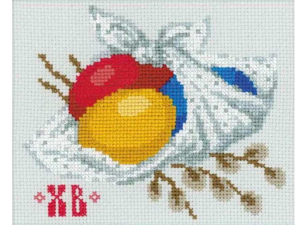 Набор для вышивания «Пасхальное настроение»Вышивка крестом Риолис<br><br><br>Артикул: 1432<br>Основа: канва 14 Aida Zweigart<br>Размер: 13х16 см<br>Техника вышивки: счетный крест<br>Серия: Риолис (Сотвори Сама)<br>Тип схемы вышивки: Цветная схема<br>Цвет канвы: Серый<br>Количество цветов: 14<br>Художник, дизайнер: Юлия Лындина<br>Заполнение: Полное<br>Рисунок на канве: не нанесён<br>Техника: Вышивка крестом