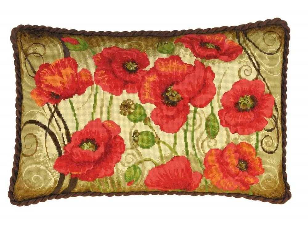 Вышивка риолис подушка с маками