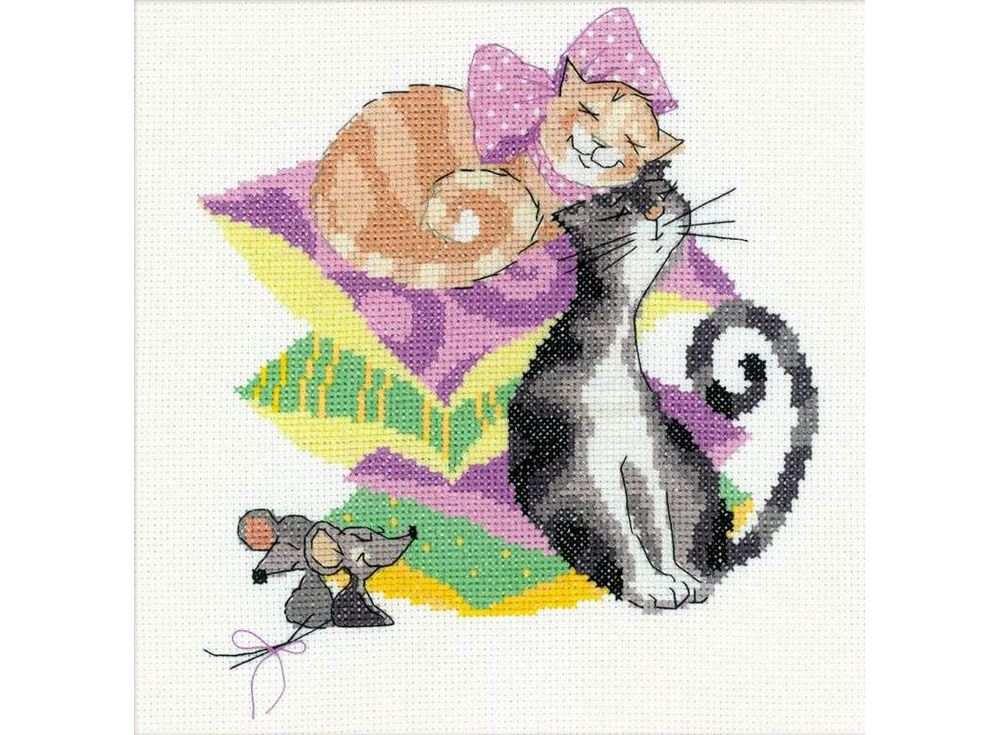 Набор для вышивания «Кошки-мышки»Вышивка крестом Риолис<br><br><br>Артикул: 1466<br>Основа: канва 14 Aida Zweigart<br>Размер: 20x20 см<br>Техника вышивки: счетный крест<br>Серия: Риолис (Сотвори Сама)<br>Тип схемы вышивки: Цветная схема<br>Цвет канвы: Белый<br>Количество цветов: 13<br>Художник, дизайнер: Анна Король<br>Заполнение: Полное<br>Рисунок на канве: не нанесён<br>Техника: Вышивка крестом