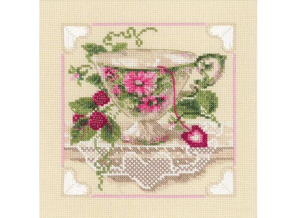 Набор для вышивания «Малиновый чай»Вышивка смешанной техникой Риолис<br><br><br>Артикул: 1476<br>Основа: канва 14 Aida Zweigart<br>Размер: 20х20 см<br>Техника вышивки: счетный крест+бисер<br>Тип схемы вышивки: Цветная схема<br>Цвет канвы: Бежевый<br>Количество цветов: Мулине: 12 цветов, бисер: 1 цвет<br>Художник, дизайнер: Галина Скабеева<br>Заполнение: Полное<br>Рисунок на канве: не нанесён<br>Техника: Смешанная техника