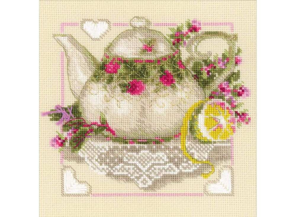 Набор для вышивания «Чай с лимоном»Вышивка крестом Риолис<br><br><br>Артикул: 1477<br>Основа: канва 14 Aida Zweigart<br>Размер: 20х20 см<br>Техника вышивки: счетный крест<br>Серия: Риолис (Сотвори Сама)<br>Тип схемы вышивки: Цветная схема<br>Цвет канвы: Бежевый<br>Количество цветов: 14<br>Художник, дизайнер: Галина Скабеева<br>Заполнение: Полное<br>Рисунок на канве: не нанесён<br>Техника: Вышивка крестом