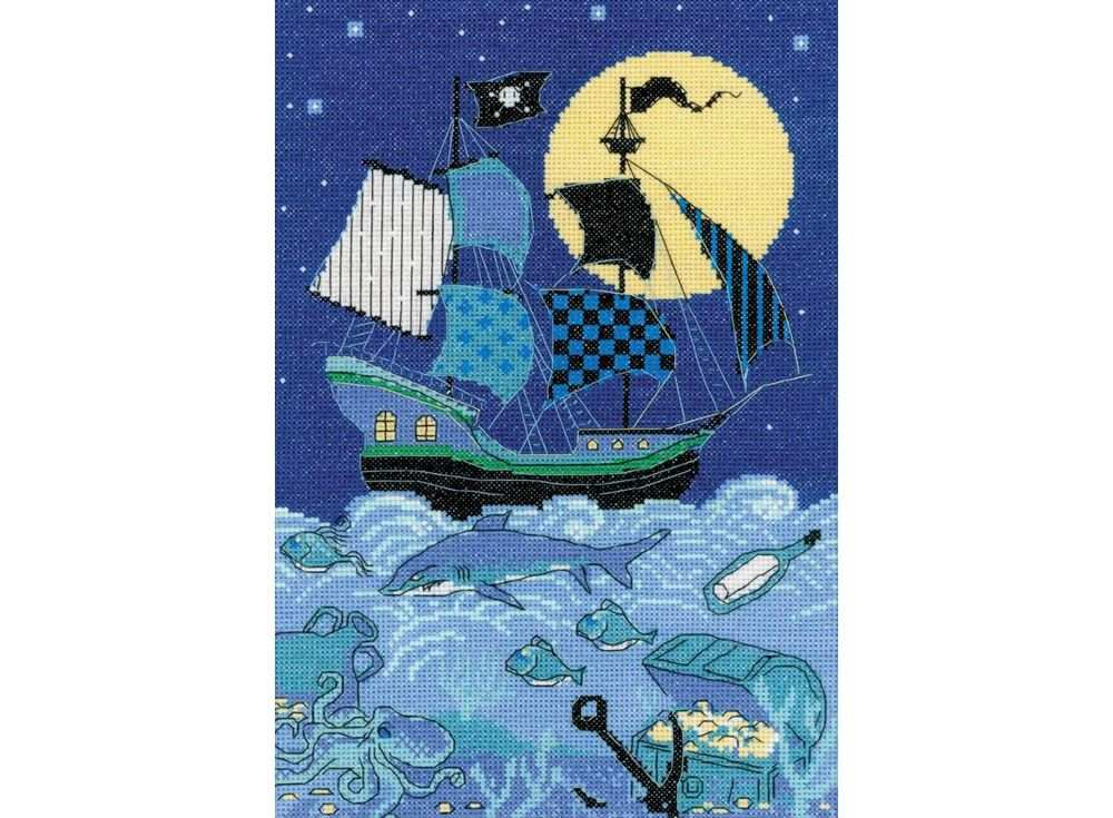 Набор для вышивания «Пиратский корабль»Вышивка крестом Риолис<br><br><br>Артикул: 1511<br>Основа: канва 14 Aida Zweigart<br>Размер: 21x30 см<br>Техника вышивки: счетный крест<br>Серия: Риолис (Сотвори Сама)<br>Тип схемы вышивки: Цветная схема<br>Цвет канвы: Белый<br>Количество цветов: 11<br>Художник, дизайнер: Анастасия Яновская<br>Заполнение: Полное<br>Рисунок на канве: не нанесён<br>Техника: Вышивка крестом
