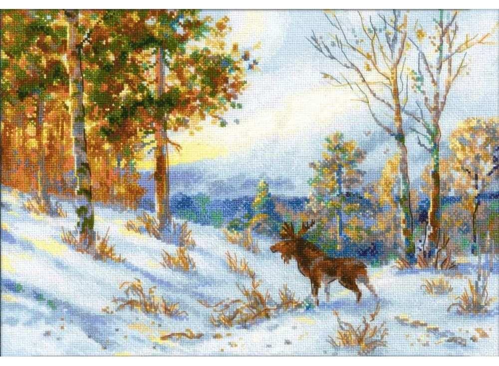 Набор для вышивания «Лось в зимнем лесу» по мотивам картины В.Л. МуравьеваВышивка крестом Риолис<br><br><br>Артикул: 1528<br>Основа: канва 14 Aida Zweigart<br>Размер: 40х28 см<br>Техника вышивки: счетный крест<br>Серия: Риолис (Сотвори Сама)<br>Тип схемы вышивки: Цветная схема<br>Цвет канвы: Белый<br>Количество цветов: 31<br>Художник, дизайнер: Александра Гусарова<br>Заполнение: Полное<br>Рисунок на канве: не нанесён<br>Техника: Вышивка крестом