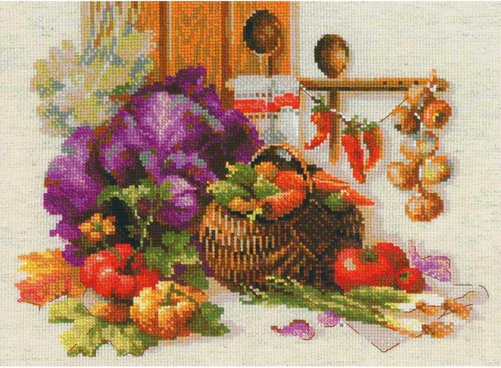 Набор для вышивания «Богатый урожай»Вышивка крестом Риолис<br><br><br>Артикул: 1544<br>Основа: канва 10 Aida Zweigart<br>Размер: 40х30 см<br>Техника вышивки: счетный крест<br>Серия: Риолис (Сотвори Сама)<br>Тип схемы вышивки: Цветная схема<br>Цвет канвы: Льняной<br>Количество цветов: 30<br>Художник, дизайнер: Александра Гусарова<br>Заполнение: Полное<br>Рисунок на канве: не нанесён<br>Техника: Вышивка крестом