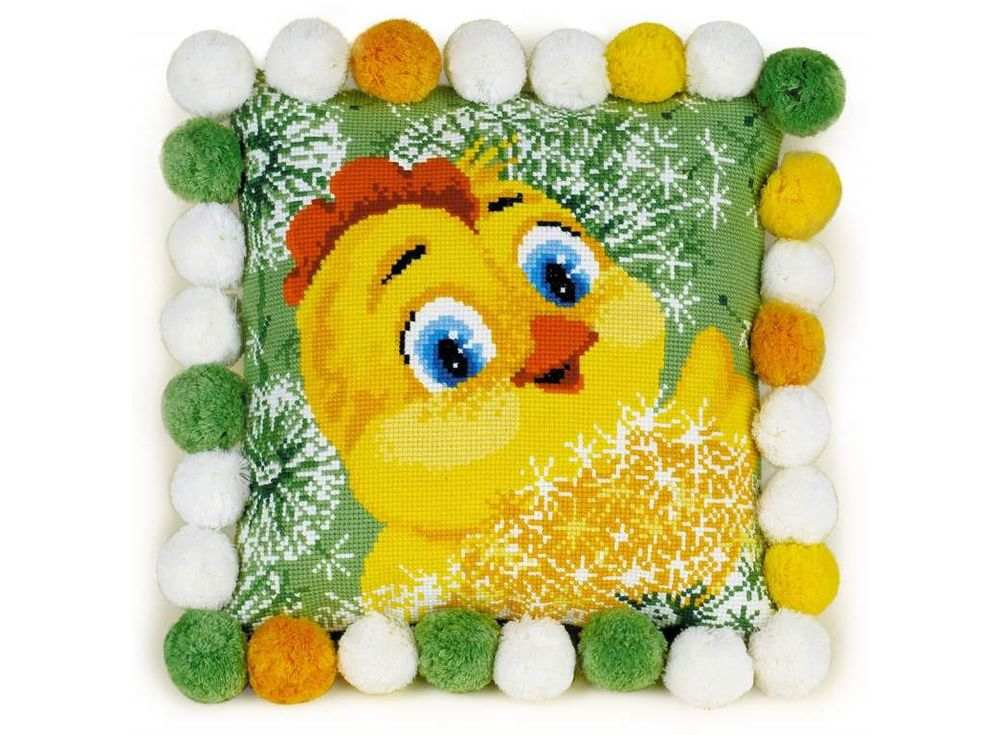 Набор для вышивания «Подушка. Цыплёнок»Вышивка подушек Риолис<br><br><br>Артикул: 1589<br>Основа: канва 10 Aida Zweigart<br>Размер: 30х30 см<br>Техника вышивки: счетный крест<br>Серия: Риолис (Сотвори Сама)<br>Тип схемы вышивки: Цветная схема<br>Цвет канвы: Белый<br>Количество цветов: 14<br>Художник, дизайнер: Анна Король<br>Заполнение: Полное<br>Рисунок на канве: не нанесён<br>Техника: Вышивка подушек
