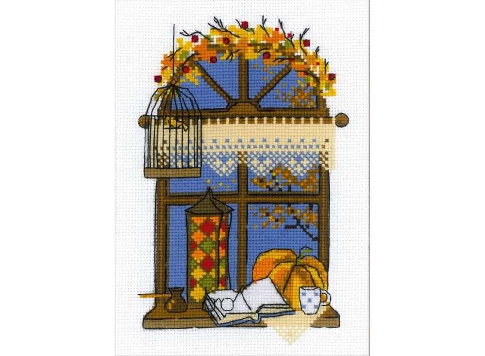 Набор для вышивания «Осеннее окошко»Вышивка крестом Риолис<br><br><br>Артикул: 1593<br>Основа: канва 14 Aida Zweigart<br>Размер: 15х21 см<br>Техника вышивки: счетный крест<br>Серия: Риолис (Сотвори Сама)<br>Тип схемы вышивки: Цветная схема<br>Цвет канвы: Белый<br>Количество цветов: 14<br>Художник, дизайнер: Анастасия Яновская<br>Заполнение: Полное<br>Рисунок на канве: не нанесён<br>Техника: Вышивка крестом