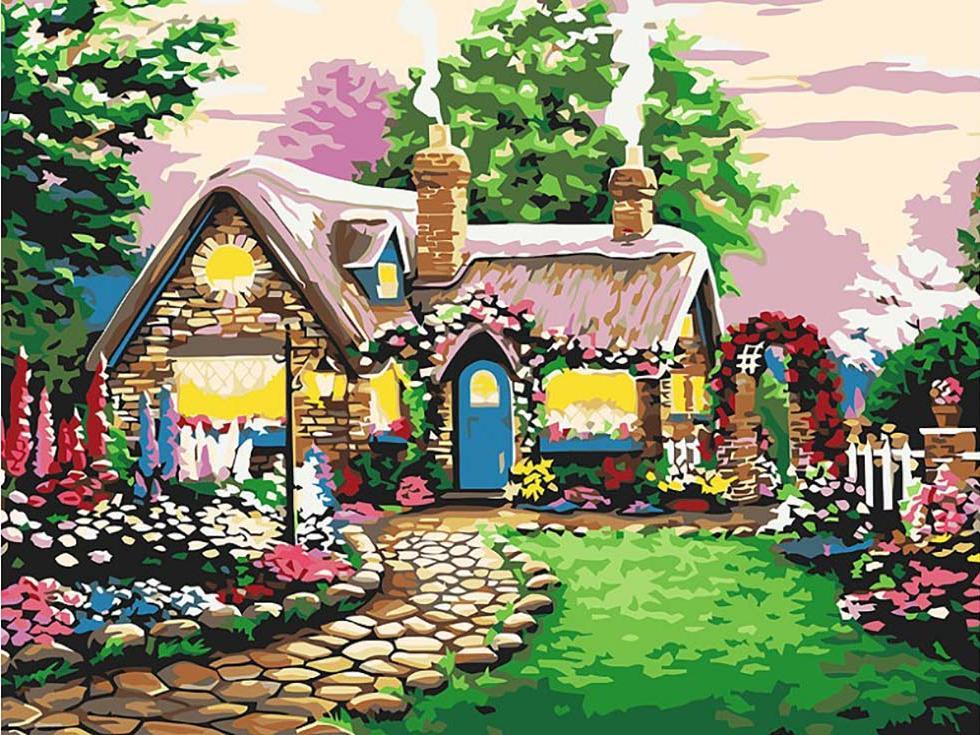 «Сказочный домик»Картины по номерам Белоснежка<br><br><br>Артикул: 173-AS<br>Основа: Холст<br>Сложность: сложные<br>Размер: 30x40 см<br>Количество цветов: 24<br>Техника рисования: Без смешивания красок