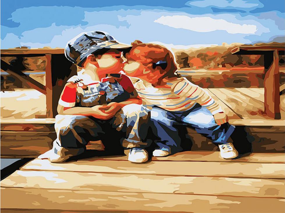 Картина по номерам «Поцелуй у реки»Картины по номерам Белоснежка<br><br><br>Артикул: 179-AS<br>Основа: Холст<br>Сложность: сложные<br>Размер: 30x40 см<br>Количество цветов: 25<br>Техника рисования: Без смешивания красок