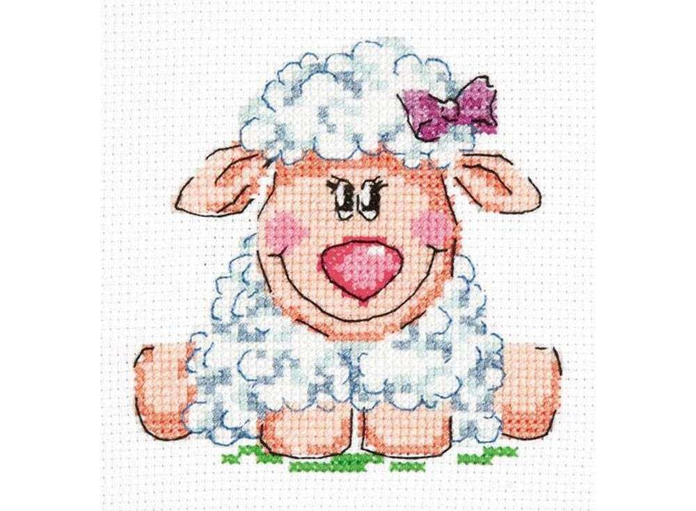Набор для вышивания «Малышка-овечка»Вышивка крестом Чудесная игла<br><br><br>Артикул: 18-83<br>Основа: канва Aida 14 (хлопок)<br>Сложность: легкие<br>Размер: 10х10 см<br>Техника вышивки: счетный крест<br>Тип схемы вышивки: Цветная схема<br>Цвет канвы: Белый<br>Количество цветов: 12<br>Игла: № 24<br>Рисунок на канве: не нанесён<br>Техника: Вышивка крестом<br>Нитки: мулине 100% хлопок Чудесная игла