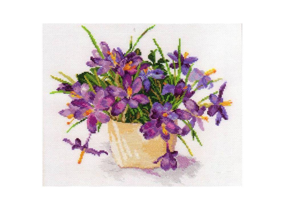Набор для вышивания «Цветущий сад: Крокусы»Вышивка крестом Алиса<br><br><br>Артикул: 2-26<br>Основа: канва Aida 14 100% хлопок Gamma<br>Размер: 29х26 см<br>Тип схемы вышивки: Цветная схема<br>Цвет канвы: Белый<br>Количество цветов: 29<br>Рисунок на канве: не нанесён<br>Нитки: мулине 100% хлопок Gamma