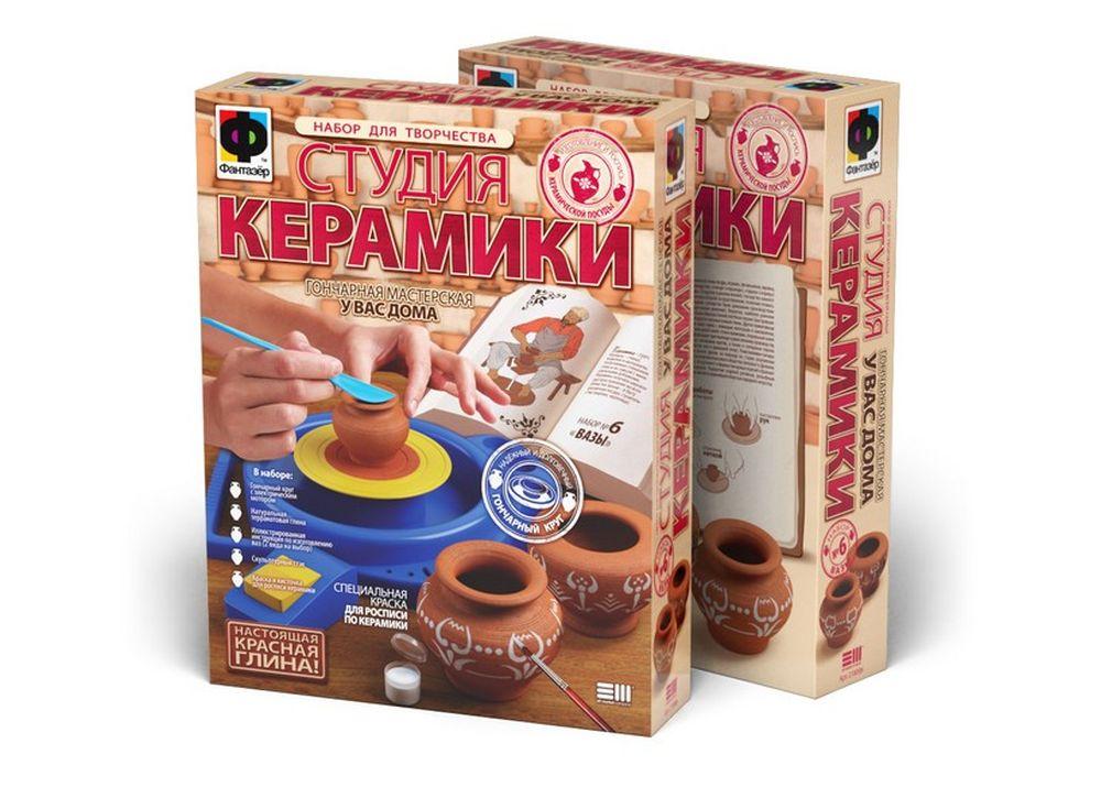 Набор для творчества «Студия керамики. Вазы»Гончарные наборы<br><br><br>Артикул: 218006<br>Размер упаковки: 45x35x9 см<br>Возраст: от 7 лет