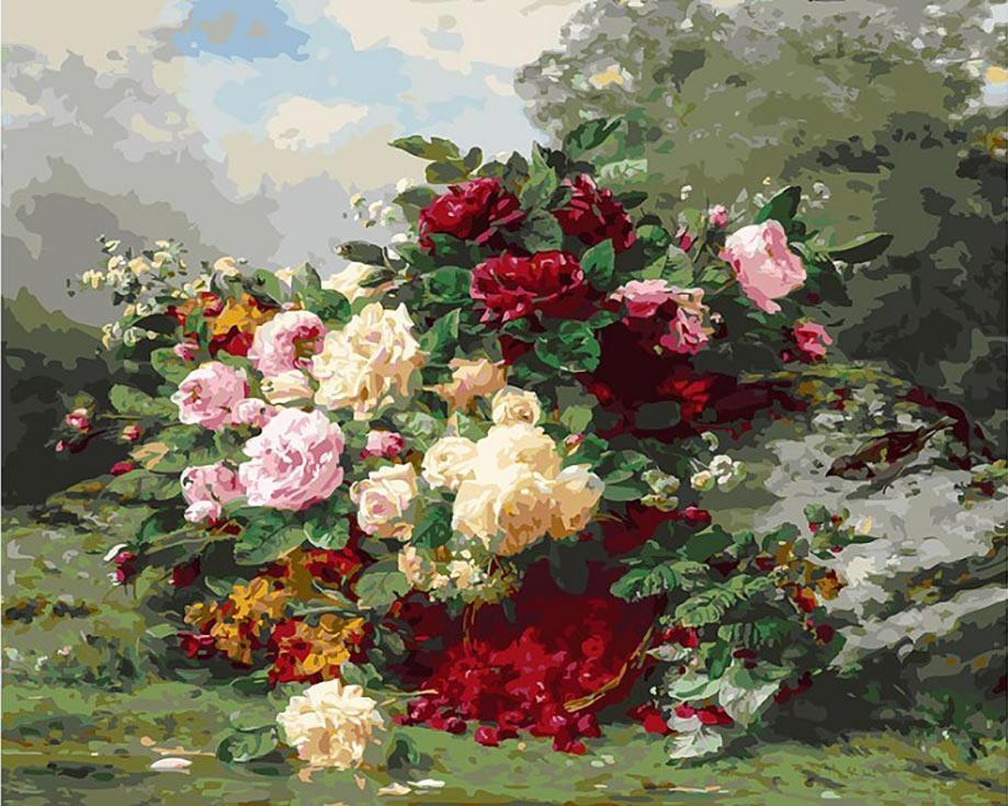 «Розы и ягодная корзина»Картины по номерам Белоснежка<br><br><br>Артикул: 253-AB<br>Основа: Холст<br>Сложность: сложные<br>Размер: 40x50 см<br>Количество цветов: 40<br>Техника рисования: Без смешивания красок