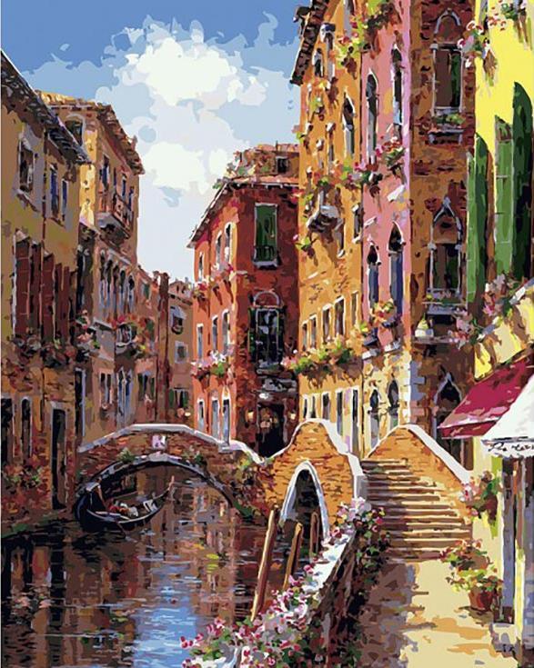 «Мосты и каналы Венеции»Картины по номерам Белоснежка<br><br><br>Артикул: 257-AB<br>Основа: Холст<br>Сложность: сложные<br>Размер: 40x50 см<br>Количество цветов: 40<br>Техника рисования: Без смешивания красок