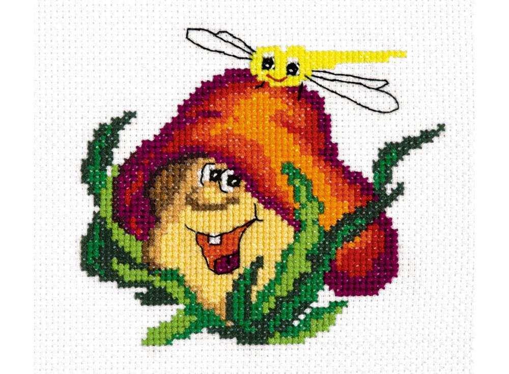 Набор для вышивания «Веселый грибочек»Вышивка крестом Чудесная игла<br><br><br>Артикул: 26-20<br>Основа: канва Aida 14 (хлопок)<br>Сложность: легкие<br>Размер: 11х10 см<br>Техника вышивки: счетный крест<br>Тип схемы вышивки: Цветная схема<br>Цвет канвы: Белый<br>Количество цветов: 15<br>Игла: № 24<br>Рисунок на канве: не нанесён<br>Техника: Вышивка крестом<br>Нитки: мулине 100% хлопок Чудесная игла