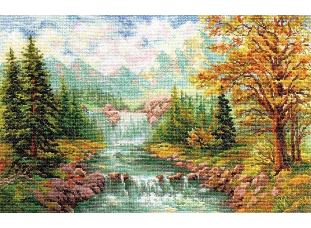Набор для вышивания «Горный водопад»Вышивка крестом Алиса<br><br><br>Артикул: 3-09<br>Основа: канва Aida 14 100% хлопок Gamma<br>Размер: 41х26 см<br>Тип схемы вышивки: Цветная схема<br>Цвет канвы: Белый<br>Количество цветов: 40<br>Рисунок на канве: не нанесён<br>Техника: Вышивка крестом<br>Нитки: мулине 100% хлопок Gamma