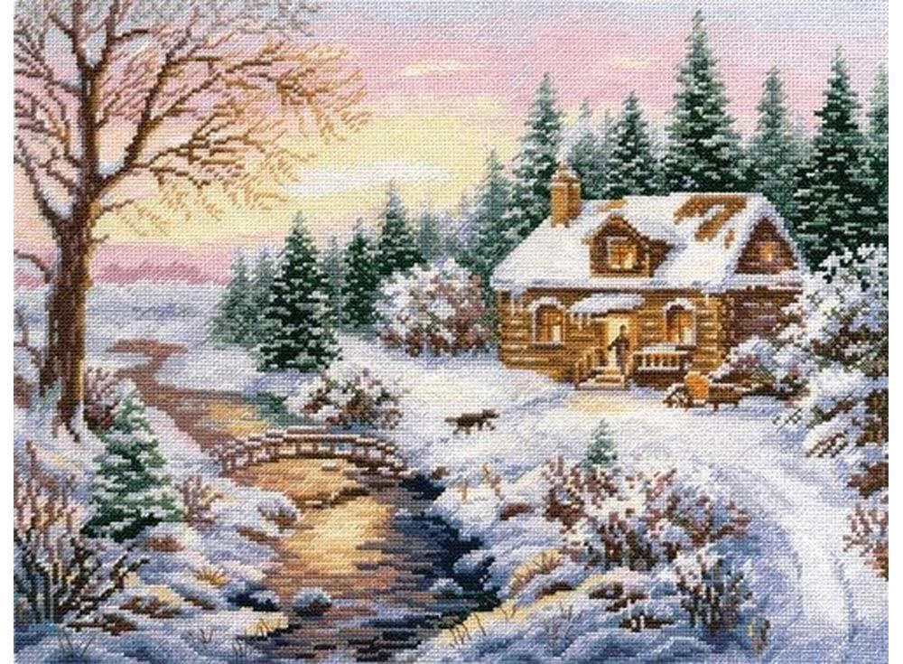 Набор для вышивания «Зима. К вечеру»Вышивка крестом Алиса<br><br><br>Артикул: 3-15<br>Основа: канва Aida 14 100% хлопок Gamma<br>Размер: 38х30 см<br>Тип схемы вышивки: Цветная схема<br>Цвет канвы: Белый<br>Количество цветов: 30<br>Рисунок на канве: не нанесён<br>Нитки: мулине 100% хлопок Gamma