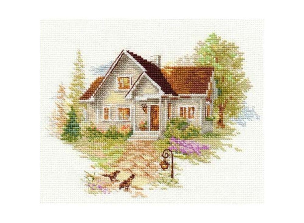 Набор для вышивания «Июльский домик»Вышивка крестом Алиса<br><br><br>Артикул: 3-20<br>Основа: канва Aida 16 100% хлопок Gamma<br>Размер: 18х14 см<br>Тип схемы вышивки: Цветная схема<br>Цвет канвы: Белый<br>Количество цветов: 27<br>Рисунок на канве: не нанесён<br>Техника: Вышивка крестом<br>Нитки: мулине 100% хлопок Gamma
