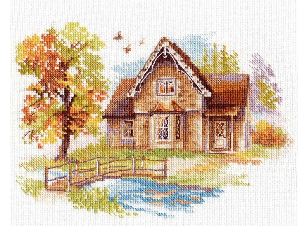 Набор для вышивания «Сентябрьский домик»Вышивка крестом Алиса<br><br><br>Артикул: 3-21<br>Основа: канва Aida 16 100% хлопок Gamma<br>Размер: 18х14 см<br>Тип схемы вышивки: Цветная схема<br>Цвет канвы: Белый<br>Количество цветов: 21<br>Рисунок на канве: не нанесён<br>Техника: Вышивка крестом<br>Нитки: мулине 100% хлопок Gamma