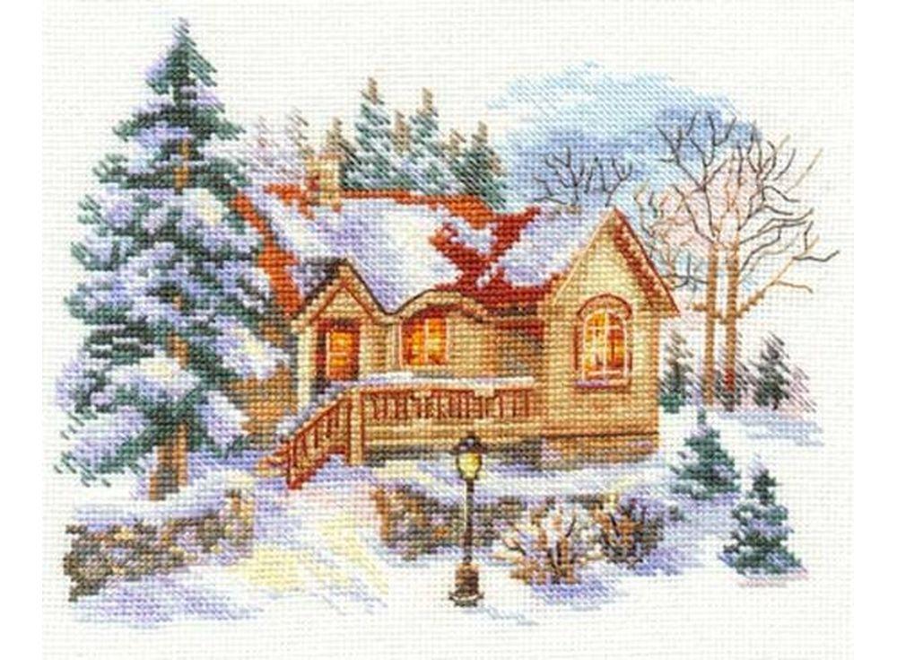 Набор для вышивания «Февральский домик»Вышивка крестом Алиса<br><br><br>Артикул: 3-22<br>Основа: канва Aida 16 100% хлопок Gamma<br>Размер: 18x14 см<br>Тип схемы вышивки: Цветная схема<br>Цвет канвы: Белый<br>Количество цветов: 24<br>Рисунок на канве: не нанесён<br>Техника: Вышивка крестом<br>Нитки: мулине 100% хлопок Gamma