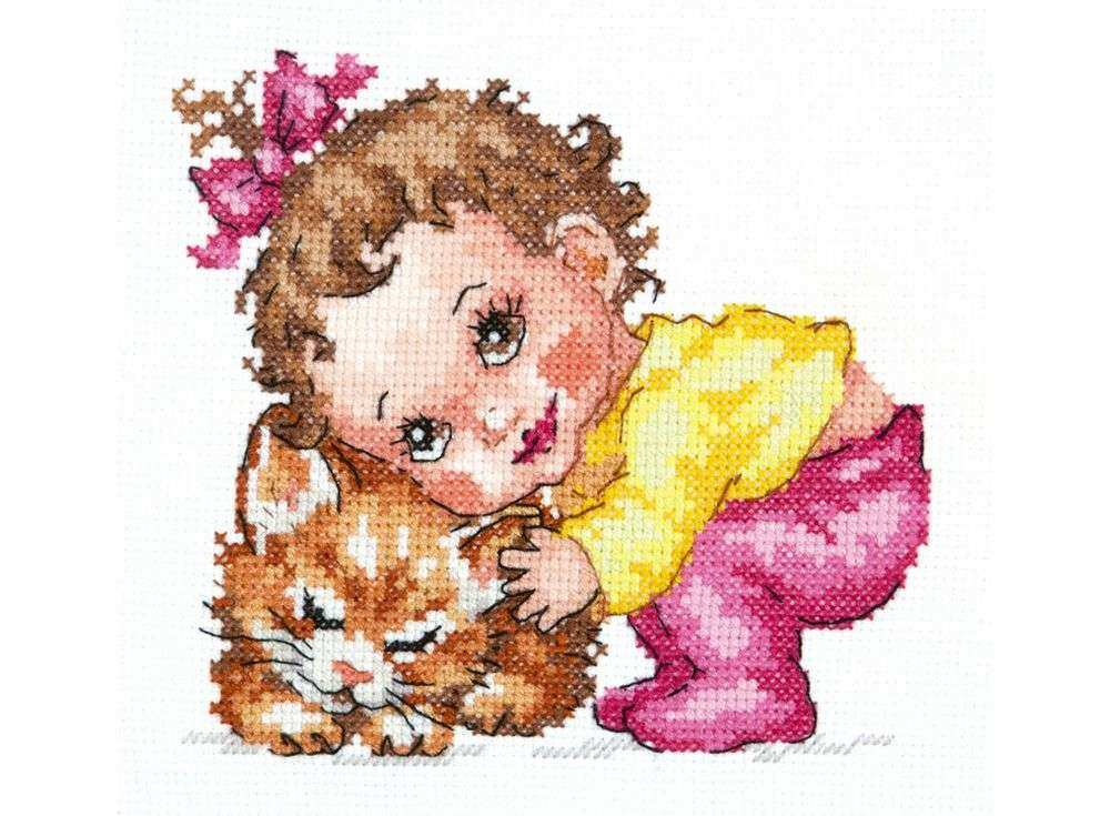 Набор для вышивания «Ты, мой котенок!»Вышивка крестом Чудесная игла<br><br><br>Артикул: 38-10<br>Основа: канва Aida 14 (хлопок)<br>Сложность: средние<br>Размер: 14х12 см<br>Техника вышивки: счетный крест<br>Тип схемы вышивки: Цветная схема<br>Цвет канвы: Белый<br>Количество цветов: 21<br>Игла: № 24<br>Рисунок на канве: не нанесён<br>Техника: Вышивка крестом<br>Нитки: мулине 100% хлопок Чудесная игла