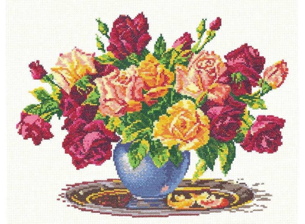 Набор для вышивания «Розы»Вышивка крестом Чудесная игла<br><br><br>Артикул: 40-10<br>Основа: канва Aida 14 (хлопок)<br>Сложность: средние<br>Размер: 34x26 см<br>Техника вышивки: счетный крест<br>Тип схемы вышивки: Черно-белая схема<br>Цвет канвы: Белый<br>Количество цветов: 24<br>Игла: № 24<br>Рисунок на канве: не нанесён<br>Техника: Вышивка крестом<br>Нитки: мулине 100% хлопок Bestex