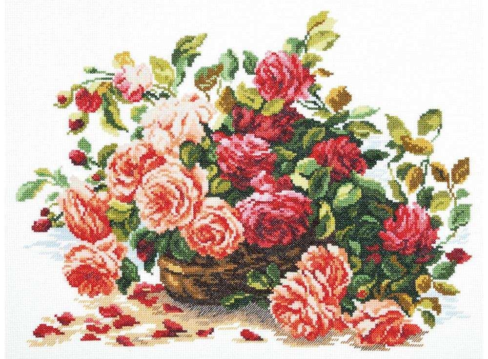 Набор для вышивания «Королевские розы»Вышивка крестом Чудесная игла<br><br><br>Артикул: 40-38<br>Основа: канва Aida 14 (хлопок)<br>Сложность: средние<br>Размер: 38х28 см<br>Техника вышивки: счетный крест<br>Тип схемы вышивки: Цветная схема<br>Цвет канвы: Белый<br>Количество цветов: 27<br>Игла: № 24<br>Рисунок на канве: не нанесён<br>Техника: Вышивка крестом<br>Нитки: мулине 100% хлопок Чудесная игла