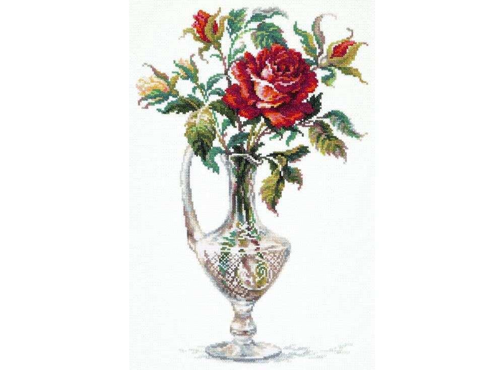 Набор для вышивания «Красная Роза»Вышивка крестом Чудесная игла<br><br><br>Артикул: 40-65<br>Основа: канва Aida 14 (хлопок)<br>Сложность: средние<br>Размер: 26x40 см<br>Техника вышивки: счетный крест<br>Тип схемы вышивки: Цветная схема<br>Цвет канвы: Белый<br>Количество цветов: 35<br>Игла: № 24<br>Рисунок на канве: не нанесён<br>Техника: Вышивка крестом<br>Нитки: мулине 100% хлопок Чудесная игла