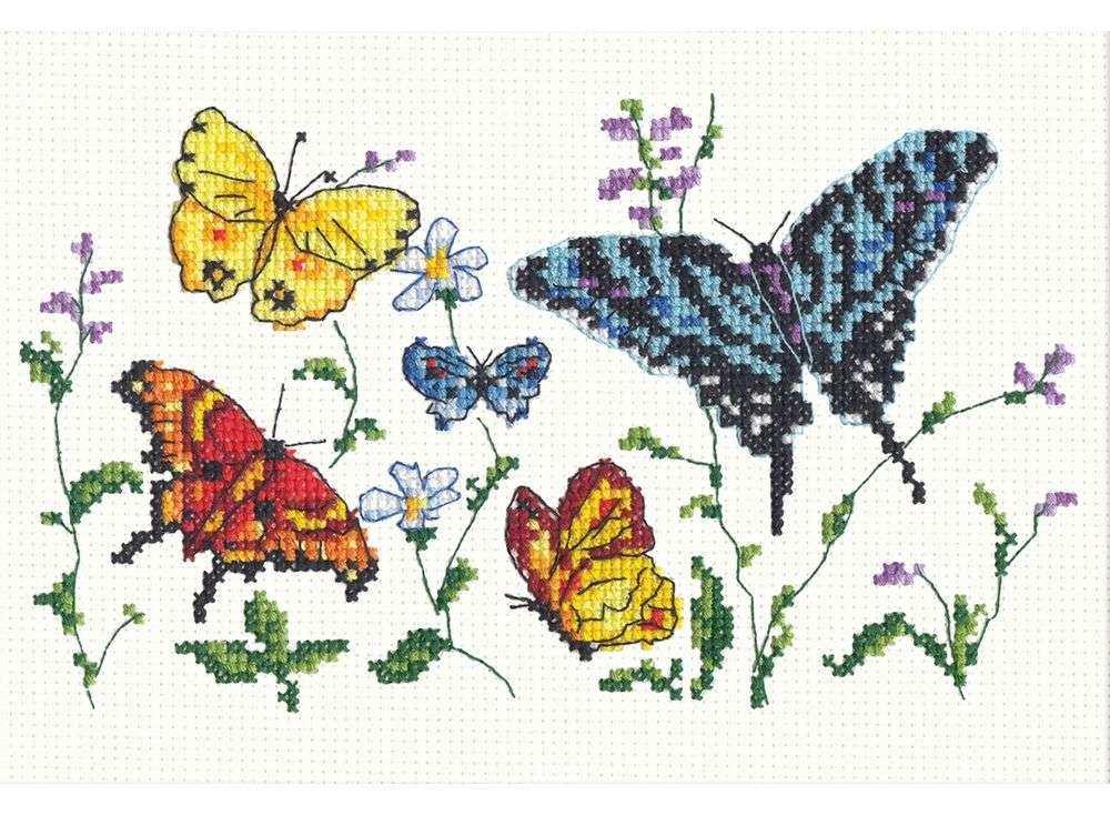 Набор для вышивания «Танец бабочек-1»Вышивка крестом Чудесная игла<br><br><br>Артикул: 42-01<br>Основа: канва Aida 14 (хлопок)<br>Сложность: легкие<br>Размер: 19х14 см<br>Техника вышивки: счетный крест<br>Тип схемы вышивки: Цветная схема<br>Цвет канвы: Белый<br>Количество цветов: 17<br>Игла: № 24<br>Рисунок на канве: не нанесён<br>Техника: Вышивка крестом<br>Нитки: мулине 100% хлопок Bestex